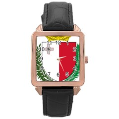 Coat Of Arms Of Malta  Rose Gold Leather Watch