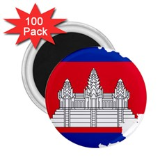 Flag Map Of Cambodia 2.25  Magnets (100 pack)