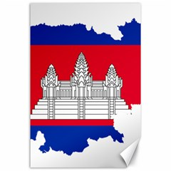 Flag Map Of Cambodia Canvas 24  x 36