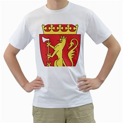 Coat Of Arms Of Norway  Men s T-Shirt (White) (Two Sided)