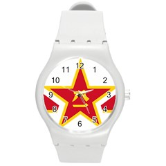 Roundel Of The People s Liberation Army Air Force Round Plastic Sport Watch (M)