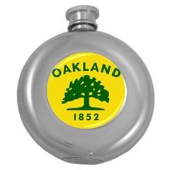 Flag Of Oakland, California Round Hip Flask (5 oz)