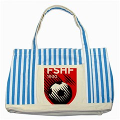 Crest Of The Albanian National Football Team Striped Blue Tote Bag