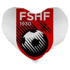 Crest Of The Albanian National Football Team Large 19  Premium Heart Shape Cushions
