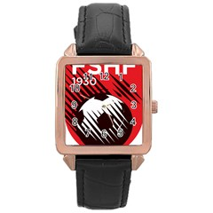Crest Of The Albanian National Football Team Rose Gold Leather Watch