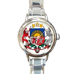 Coat Of Arms Of Latvia Round Italian Charm Watch