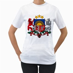 Coat Of Arms Of Latvia Women s T Shirt (white) (two Sided)