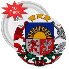Coat Of Arms Of Latvia 3  Buttons (10 Pack)