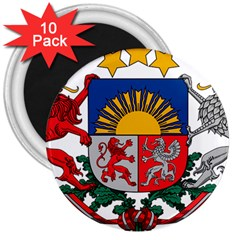 Coat Of Arms Of Latvia 3  Magnets (10 Pack)
