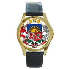 Coat Of Arms Of Latvia Round Gold Metal Watch