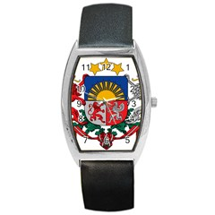 Coat Of Arms Of Latvia Barrel Style Metal Watch