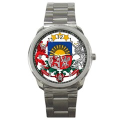 Coat Of Arms Of Latvia Sport Metal Watch