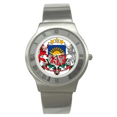 Coat Of Arms Of Latvia Stainless Steel Watch