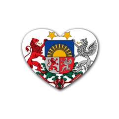 Coat Of Arms Of Latvia Rubber Coaster (heart)
