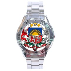 Coat Of Arms Of Latvia Stainless Steel Analogue Watch