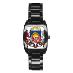 Coat Of Arms Of Latvia Stainless Steel Barrel Watch