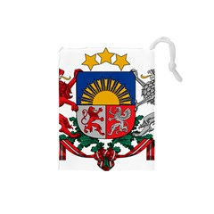 Coat Of Arms Of Latvia Drawstring Pouches (small)
