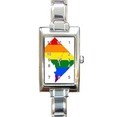 Lgbt Flag Map Of Washington, D C Rectangle Italian Charm Watch
