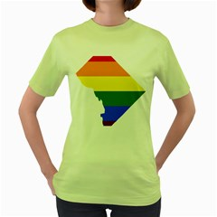 Lgbt Flag Map Of Washington, D C Women s Green T Shirt