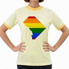 Lgbt Flag Map Of Washington, D C Women s Fitted Ringer T Shirts