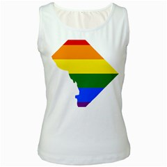 Lgbt Flag Map Of Washington, D C Women s White Tank Top