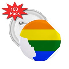 Lgbt Flag Map Of Washington, D C 2 25  Buttons (100 Pack)