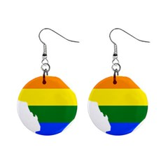Lgbt Flag Map Of Washington, D C Mini Button Earrings
