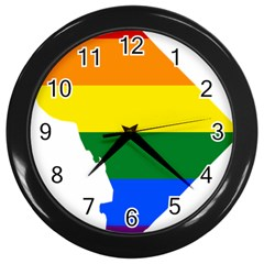 Lgbt Flag Map Of Washington, D C Wall Clocks (black)