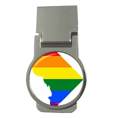 Lgbt Flag Map Of Washington, D C Money Clips (round)
