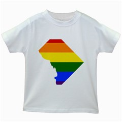 Lgbt Flag Map Of Washington, D C Kids White T Shirts