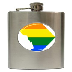 Lgbt Flag Map Of Washington, D C Hip Flask (6 Oz)