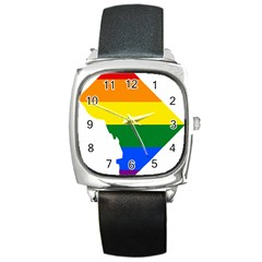 Lgbt Flag Map Of Washington, D C Square Metal Watch