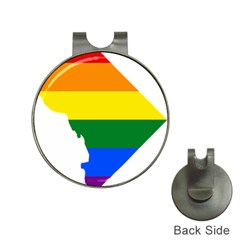 Lgbt Flag Map Of Washington, D C Hat Clips With Golf Markers