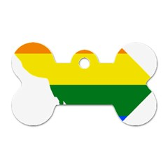 Lgbt Flag Map Of Washington, D C Dog Tag Bone (one Side)