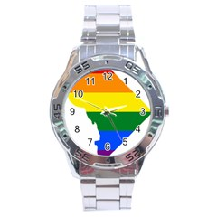Lgbt Flag Map Of Washington, D C Stainless Steel Analogue Watch