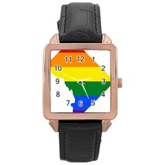 Lgbt Flag Map Of Washington, D C Rose Gold Leather Watch