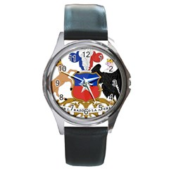 Coat Of Arms Of Chile  Round Metal Watch