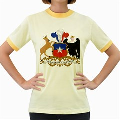 Coat Of Arms Of Chile  Women s Fitted Ringer T Shirts