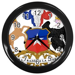 Coat Of Arms Of Chile  Wall Clocks (black)