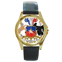 Coat Of Arms Of Chile  Round Gold Metal Watch