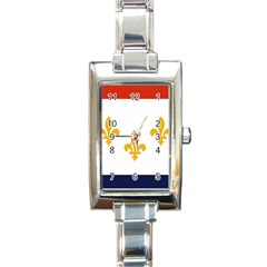 Flag Of New Orleans  Rectangle Italian Charm Watch