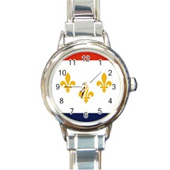 Flag Of New Orleans  Round Italian Charm Watch