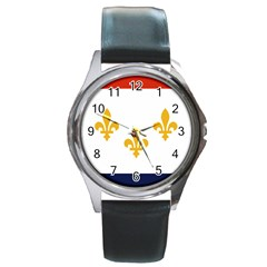 Flag Of New Orleans  Round Metal Watch