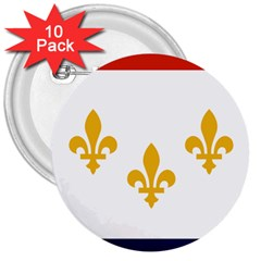 Flag Of New Orleans  3  Buttons (10 Pack)