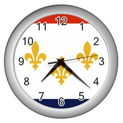 Flag Of New Orleans  Wall Clocks (silver)