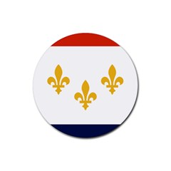 Flag Of New Orleans  Rubber Round Coaster (4 Pack)