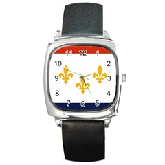 Flag Of New Orleans  Square Metal Watch