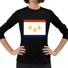 Flag Of New Orleans  Women s Long Sleeve Dark T Shirts