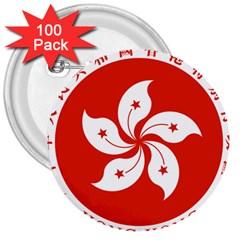 Emblem Of Hong Kong  3  Buttons (100 pack)