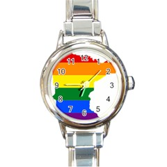 Lgbt Flag Map Of Minnesota  Round Italian Charm Watch
